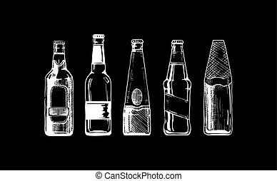 Beer set on black background. - Vector set of beer bottles...