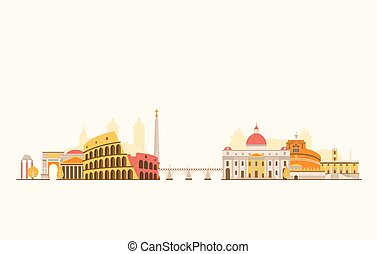 Rome abstract skyline - Vector graphics, flat city...