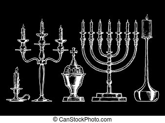 Vector illustration set of candlesticks - Vector hand drawn...