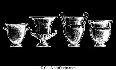 Forms of kraters Greek vessel shapes - Vector hand drawn...