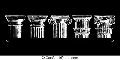 Types of capital Classical order - Vector hand drawn...