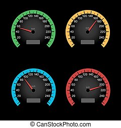 black speedometer dial - Set of car speeding limit panels...