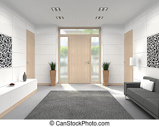 modern entry hall interior - fictitious 3D rendering of a...