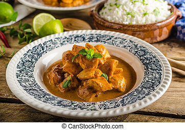 Curry chicken with rice - Curry chicken with basmati rice,...