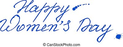 Congratulations on March 8. Text lettering for greeting...