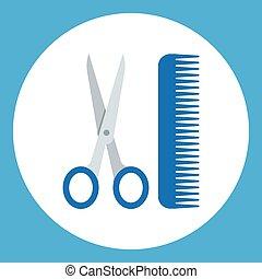 tesouras, salão, cabeleireiros, pentes