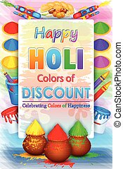 Holi Sale promotion poster - vector illustration of Holi...