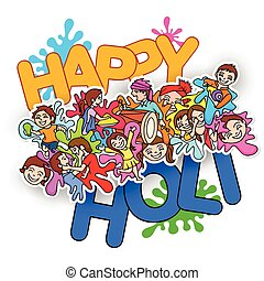Happy Holi festival doodle - vector illustration of Happy...