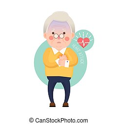Old Man Heart Attack - Vector Illustration of Old Man having...