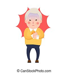 Old Man Heart Attack, Chest Pain - Vector Illustration of...