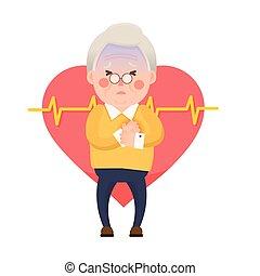 Old Man Heart Attack - Vector Illustration of Old Man having...