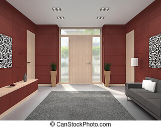 modern lobby interior with front door - fictitious 3D...