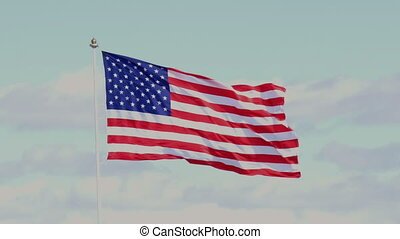 The American flag waving in blue sky - US American flag...