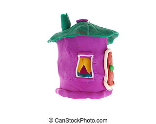 plasticine house on a white background