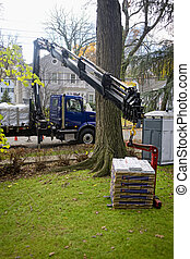 Crane Delivery - Constuction supplies been delivered to a...