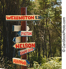 Directions, signpost on tramping track, New Zealand -...