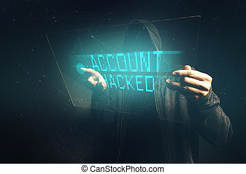 E-bank account hacked, unrecognizable computer hacker...