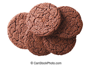 chocolate cookies isolated on white background close up....