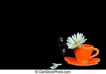 Tea Time - Butterfly and daisy with orange tea cup.