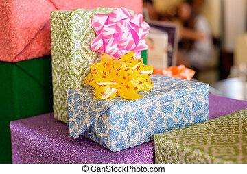 Group of gift boxes with a ribbon bow