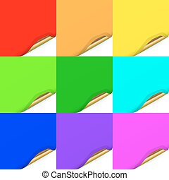 Multicolored Set of Curled Paper  Sheets