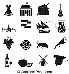 Spain icons black - Spain icons in black simple style for...