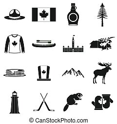 Canada icons black - Canada icons in black simple style for...