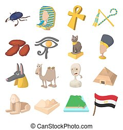 Egypt icons cartoon