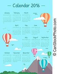 Illustrations calendar for 2016
