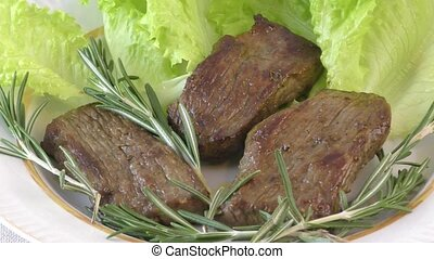 Steak beef meat with fresh herbs