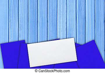 many envelopes on the blue wooden paint background