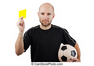 Yellow card - Soccer sport men referee showing yellow card