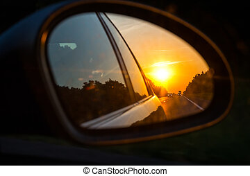 car mirror - view of the road in the side mirror of a car
