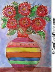 Vase with of a bouquet Flowers. Batik - Watercolor drawing...