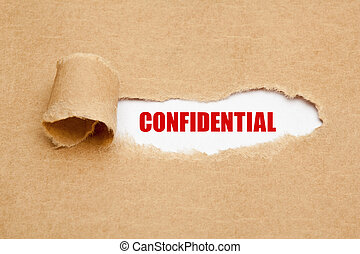 Confidential Torn Paper Concept - The word Confidential...