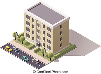 Vector isometric building - Isometric icon representing city...