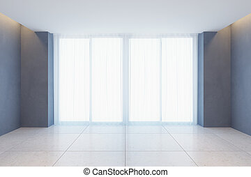 empty room with curtains on window