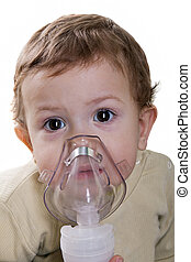 Inhaling mask - Medical equipment - inhaling mask on child
