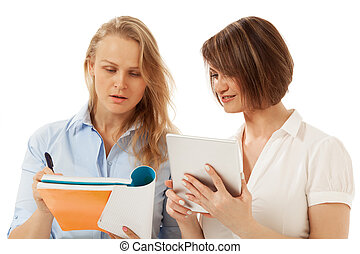 Woman showing something in her folder to colleague