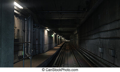 View on subway rails in artificial light