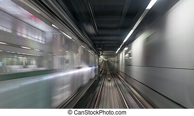 Moving subway train - Vie on moving subway train in tunnel...