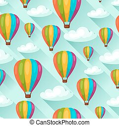 Seamless travel pattern with hot air balloons Background...