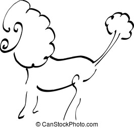 Poodle of black ink Isolated on white background