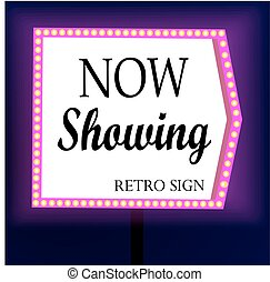 Retro banner with glowing lights. Banner in the form of arrows. Design element for your poster, advertising or text.
