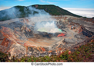 Volcano - Smoking crater of Poas volcano, Costa Rica