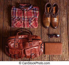 Stylish man accessories - Top view of clothes and...