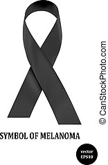 Symbol of melanoma. Black ribbon - a sign of condolence....