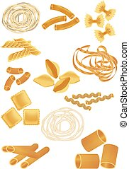 PASTA - Set of editable vector icons of different pasta...
