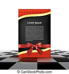Greeting red card with golden ribbon, red bow Vector...