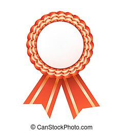 Red satin ribbon medallion isolated on white background...
